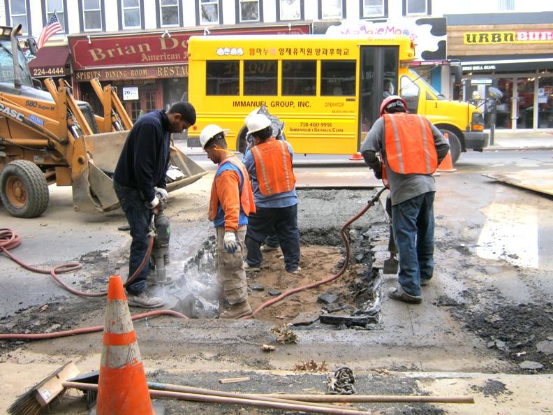 jackhammering a street