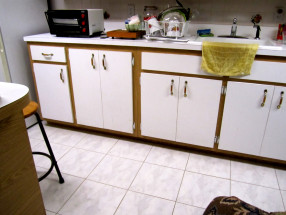 white formica cabinets