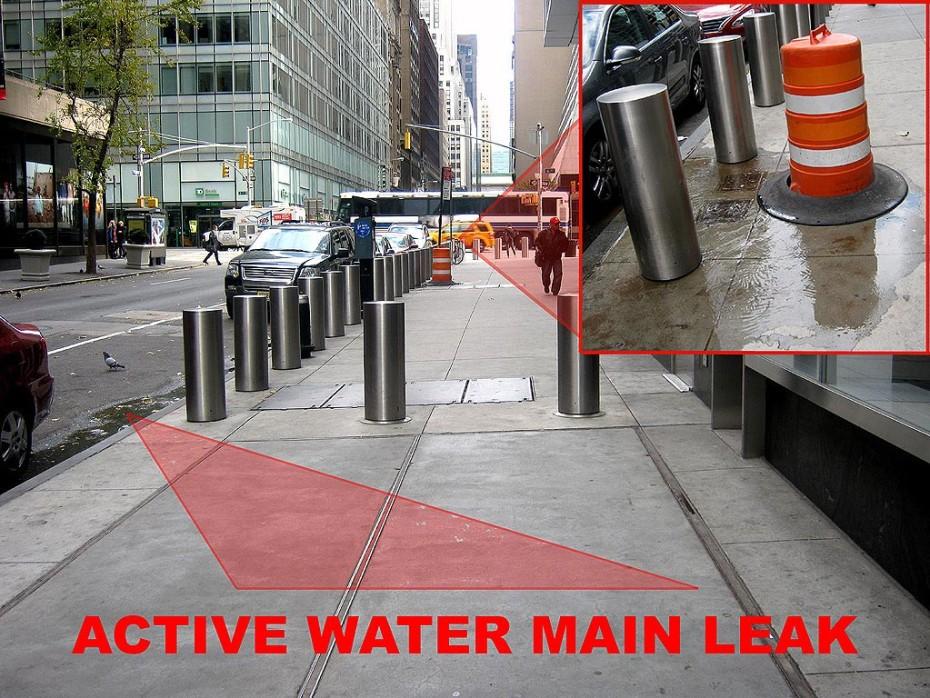 manhattan sidewalk water line leak