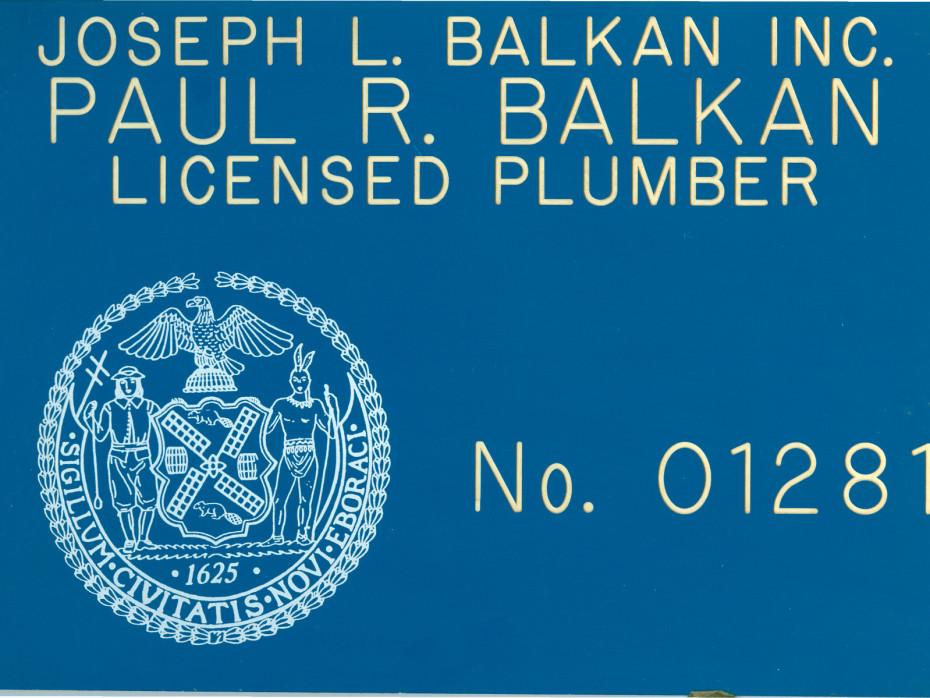 paul r balkan master plumbing license